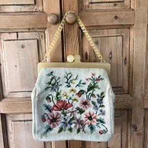 Vintage Cross Stitched Embroidered Handbag